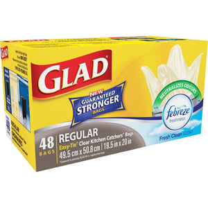 "Glad Easy-Tie Clear Kitchen Catchers Bags - 21 L - 19.50"" (495.30 mm) Width x 20"" (508 mm) Length - Clear - 48/Box - Kitchen, Garbage, Office, Bathroom, Bedroom"