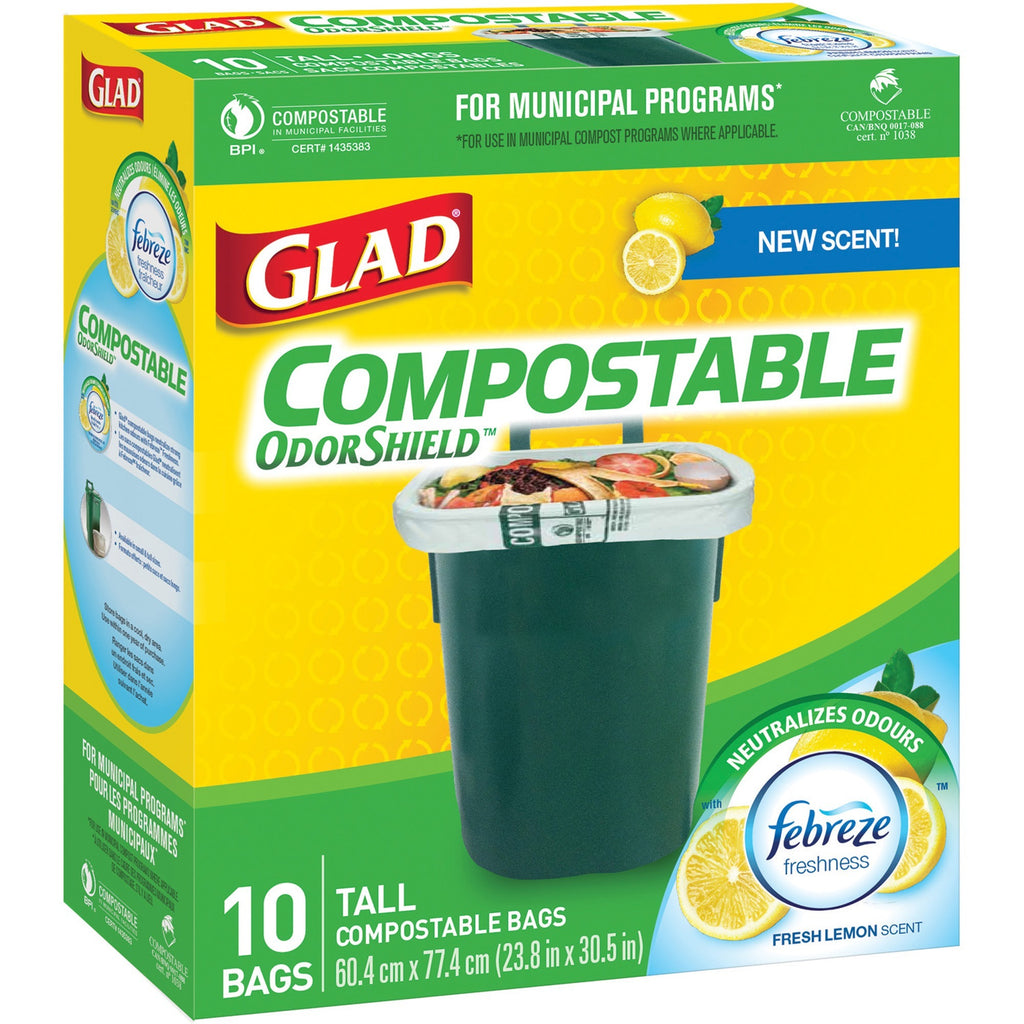 "Glad Compostable Bags - Large Size - 42.50 L - 23.80"" (604.52 mm) Width x 30.50"" (774.70 mm) Length - Translucent - 10/Box - Kitchen, School, Office, Breakroom, Restaurant, Garbage, Bathroom, Bedroom"