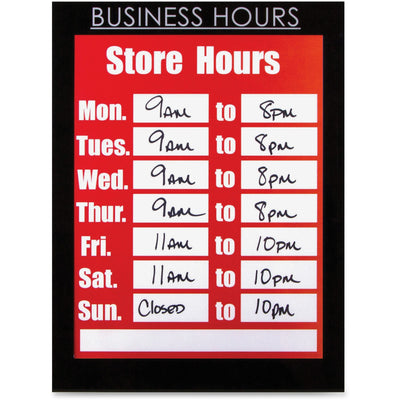 Glolite Nu dell 8.5in x 11in Magnetic Business Hours Sign Holder  Black