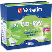 Verbatim 95156 CD Rewritable Media   CD RW   12x   700 MB   10 Pack Slim Case