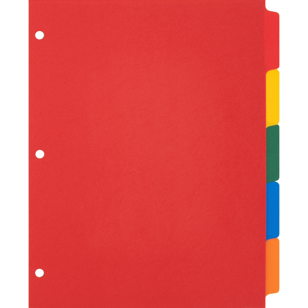 "Business Source Plain Tab Color Polyethylene Index Dividers 8.5x11"" 3 hole 5 tabs"