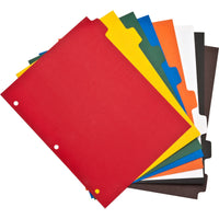 "Business Source Plain Tab Color Polyethylene Index Dividers 8.5x11"" 3 hole 8 tabs"