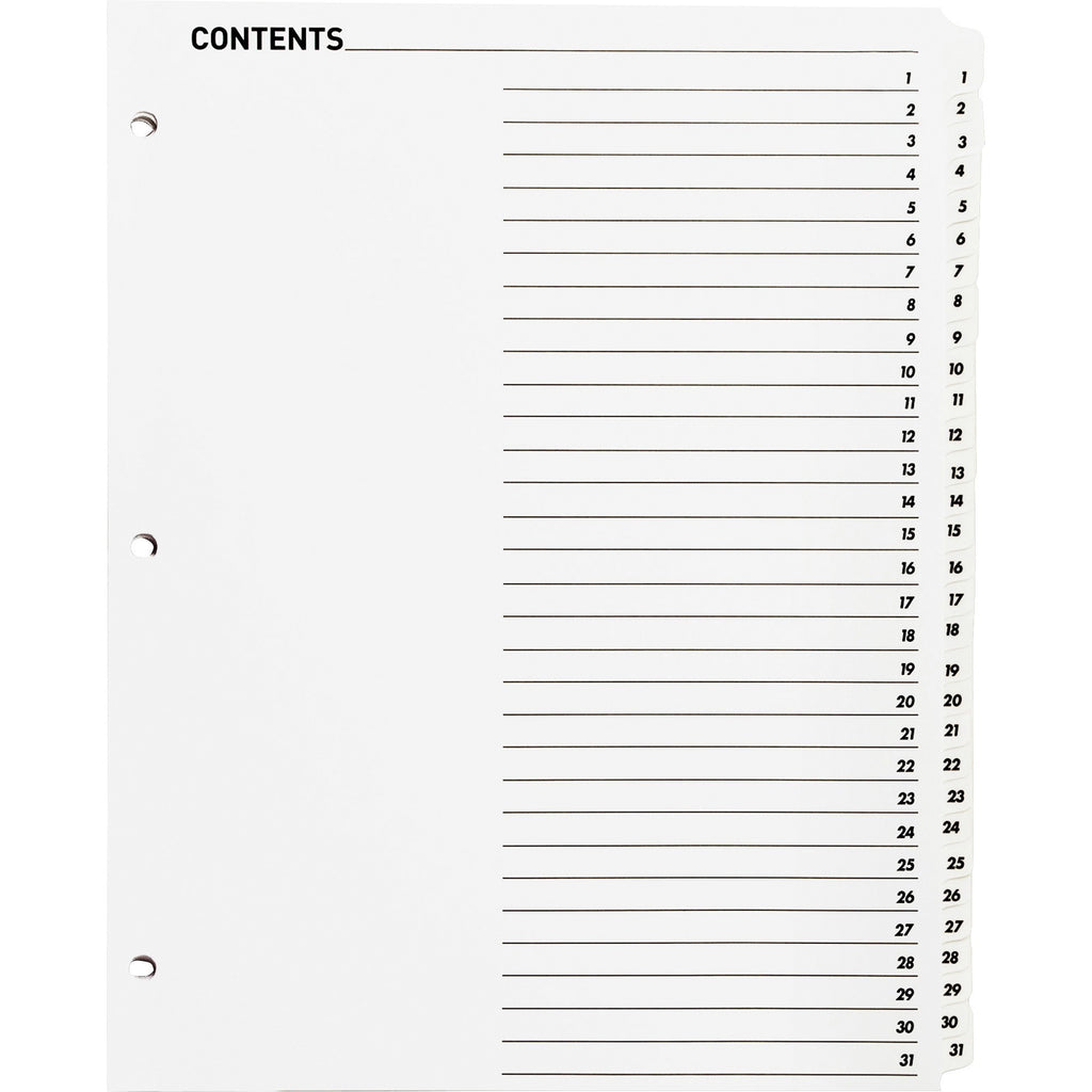 Business Source Table of Content Quick Index Dividers, letter, 1-31