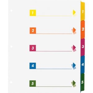 Business Source Color coded Table of Contents Tabs Index Dividers, 5 tab, 3 hole-punch, multicolor, 24/box