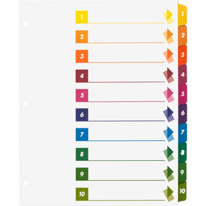 Business Source Color coded Table of Contents Tabs Index Dividers, 10 tab, 3 hole-punch, multicolor, 24/box