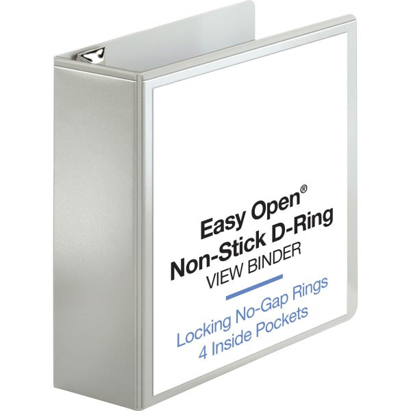"Business Source Locking D Ring View Binder- 4"" Binder Capacity"