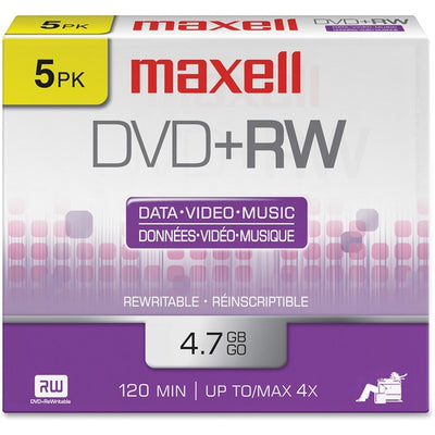Maxell DVD Rewritable Media   DVD+RW   4x   4.70 GB   5 Pack