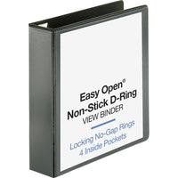 "Business Source Locking D-Ring View Binder - 2"" - Black"