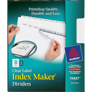Avery Index Maker Print & Apply Clear Label Dividers with White Tabs  8 Tab(s)/Set