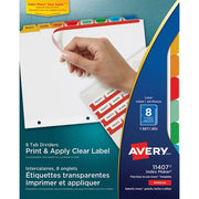 Avery Index Maker Print & Apply Clear Label Dividers with Traditional Color Tabs - 8 Tab(s)/Set
