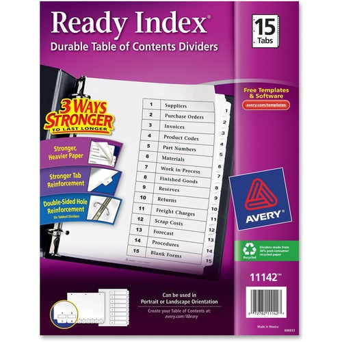 Avery Ready Index Customizable Table of Contents - 3 Hole Punched, Preprinted 1-15 White Tabs, 1 Set