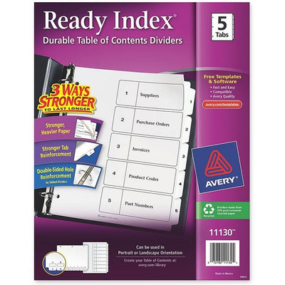 Avery Ready Index Customizable Table of Contents Dividers - 5 Tab(s) - 3 Hole Punched