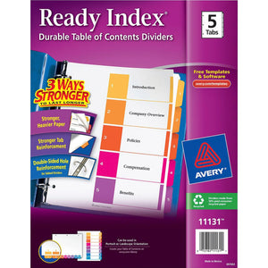 Avery Ready Index Customizable Table of Contents Classic Multicolor Dividers 1-5 Multicolor Tabs