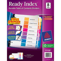 Avery Ready Index Customizable Table of Contents Classic Multicolor Dividers  1-8 Multicolor Tabs, 1 Set