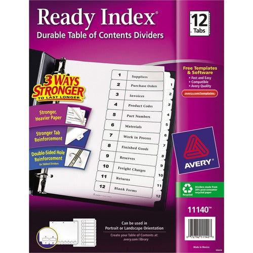 Avery Ready Index Customizable Table of Contents Letter - 3 Hole Punched, Preprinted 1-12 White Tabs, 1 Set