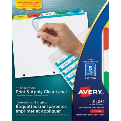 Avery Index Maker Print & Apply Clear Label Dividers  - 5 Tab(s)/Set -  3 Hole Punched