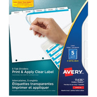 Avery Index Maker Print & Apply Clear Label Dividers with White Tabs  - 5 Tab(s)/Set