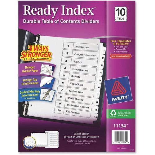 Avery Ready Index Customizable Table of Contents Black & White Dividers Preprinted 1-10 White Tabs, 1 Set