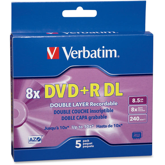 Verbatim 95311 DVD Recordable Media   DVD+R DL   8x   8.50 GB   5 Pack Jewel Case
