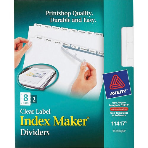 Avery Index Maker Print & Apply Clear Label Dividers with White Tabs - Letter