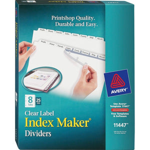 Avery Index Maker Print & Apply Clear Label Dividers with White Tabs  8 Tab(s)/Set, 25 Sets per box