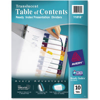 Avery Ready Index Customizable Table of Contents Translucent Dividers Preprinted 1-10 Multicolor Tabs, 1 Set