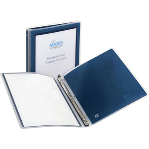 "Avery Flexi View Binders with Round Rings 1/2"" Round Rings, 100-Sheet Capacity, Navy Blue"