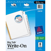 Avery Big Tab Write & Erase Paper Dividers - 8 Write-on Tab(s)- 3 Hole Punched