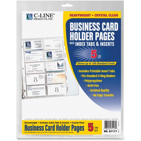 C Line Business Card Refill Pages - 3 Hole Punched 8.5x11