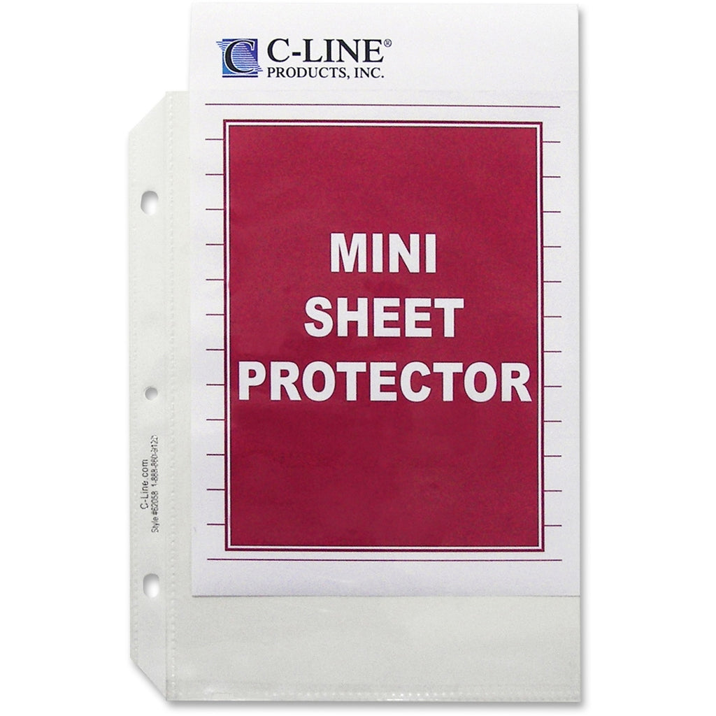 "C-Line Top Load Heavyweight Mini Sheet Protectors - 5 1/2"" x 8 1/2"" Sheet - 3 x Holes - Ring Binder - Clear - Polypropylene - 50 / Box"