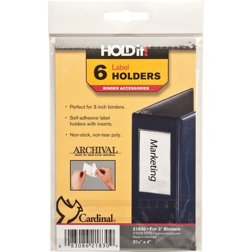 Cardinal HOLDit! Self-Adhesive Label Holders - 6 / Pack - Clear