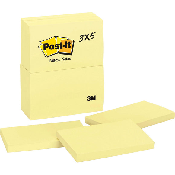 Post it Notes  3 in x 5 in  Canary Yellow