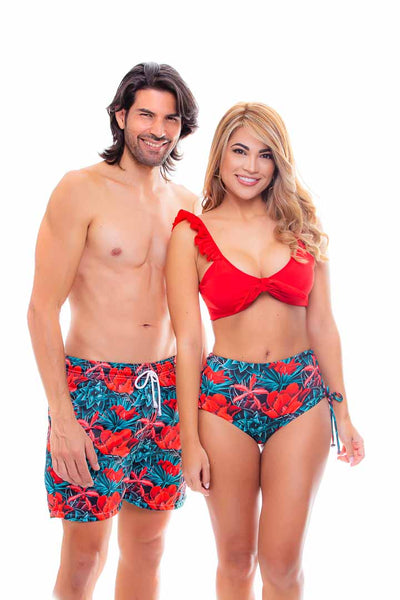Pantaloneta de Hombre - Rojo Flores | Men's Swim Trunks Quick Dry Shorts with Pockets