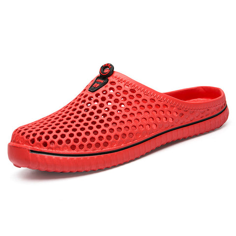 Footstep Anti-slip Breathable Red Half Slipper