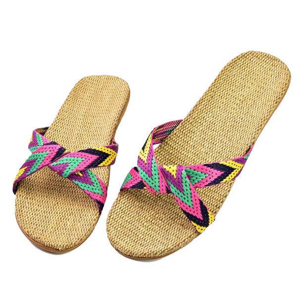 Footstep Casual Non-Slip Pink Stripe Beach Slipper