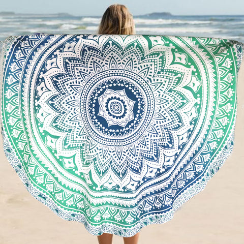 NAT Ombre Mandala Green Blue Round Towel