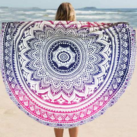 NAT Ombre Mandala Pink Blue Round Towel