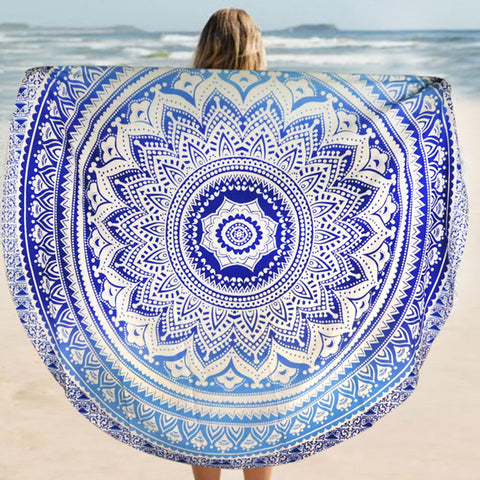 NAT Ombre Mandala White Blue Round Towel