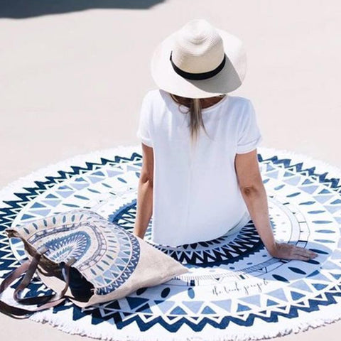 NAT White Blue Mandala Sandy Beach Towel