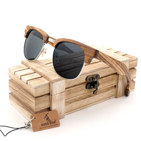 Bobo Bird Premium Half Frame Wooden Travel Sunglasses