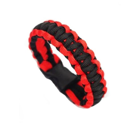 World Explorer Self-rescue Parachute Cord Black Red Bracelets