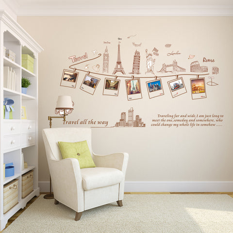 Footstep World Travel Wall Stickers for Home