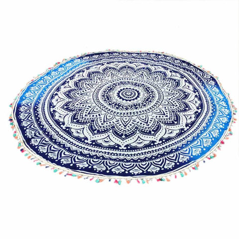 "Hotsale !!! Beach towel 150cm/59.0"" Round Hippie Tassel Tapestry Beach Throw Mandala Towel Mat Bohemian 2017 summer gift"