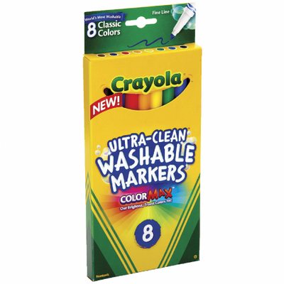 Crayola Markers - Washable - Fine Tip - 8 Count