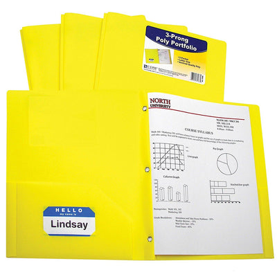 Folder - Plastic/Prongs/Yellow