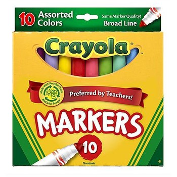 Crayola Markers Broad Tip, 10 Count