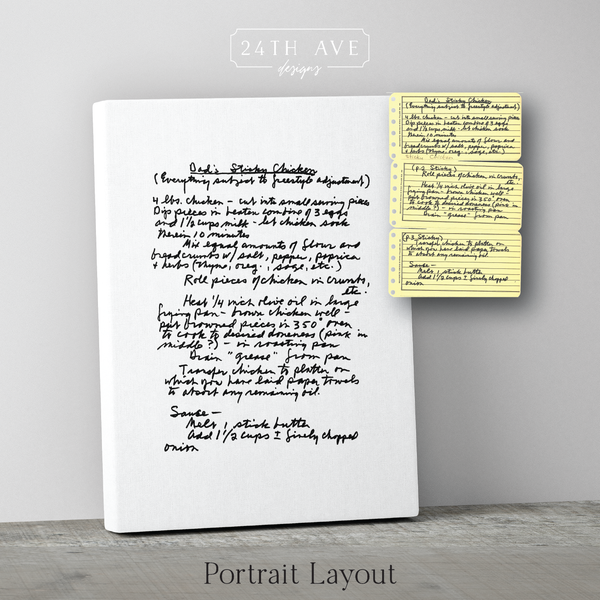 Handwritten Family Recipe Canvas - 24th Ave Designs