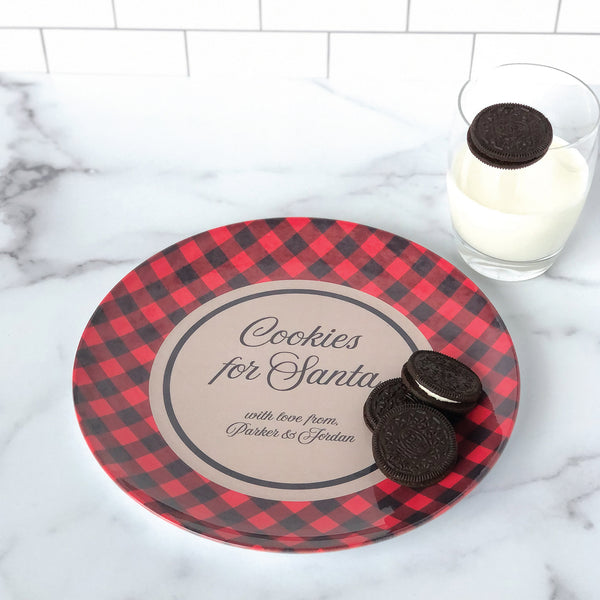 Personalized Cookies For Santa Plate - Buffalo Plaid Personalized with Kids Names - Santa cookie plate, cookies for Santa, personalized Santa cookie plate