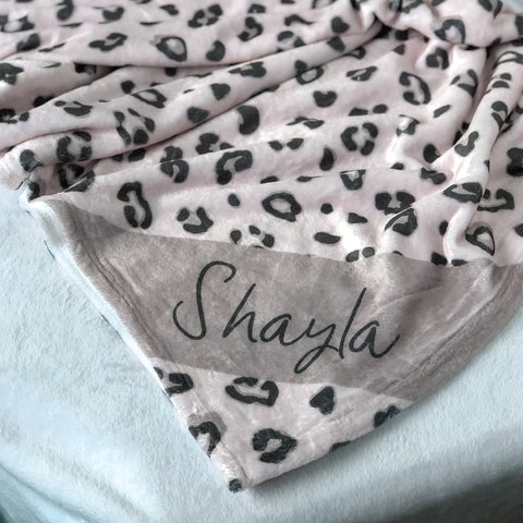Pink Leopard Print Name Blanket, personalized leopard blanket, minky leopard blanket