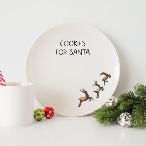 Cookies For Santa Plate - Reindeer, christmas cookie plate, Santa's cookie plate, christmas cookie plate